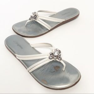 Brighton Oh!my! Flip Flops White Leather Sandals